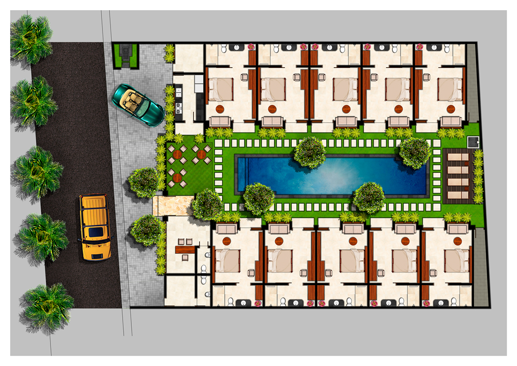 Floor plan seminyak boutique hotel for Hotel plan design